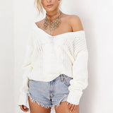 Long Sleeve Solid Knitted Loose Pullover Sweater Top