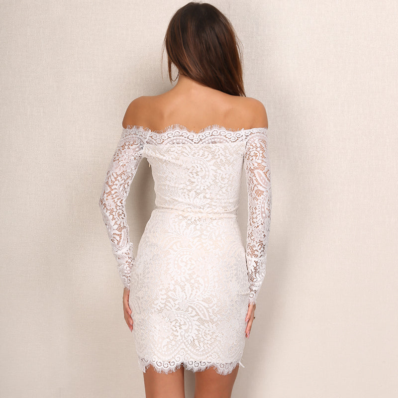 Vintage Lace Strapless Slash Neck Floral Dress
