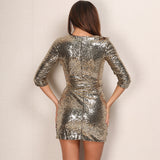 Sequin V Neck Long Sleeve Dress