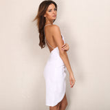 Deep V Neck Backless Dress