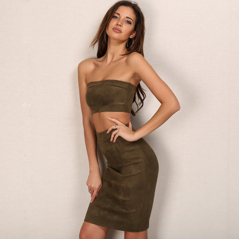 Suede Off Shoulder Set