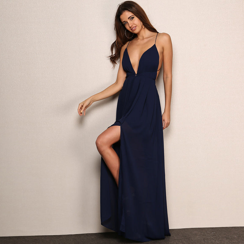 Deep V Neck Backless Evening Gown