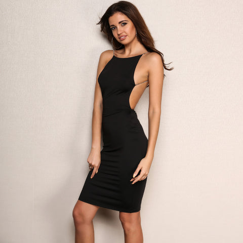 Deep V Metal Chain Sling Backless Dress