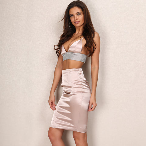 V Neck Halter Crop Top Skirt Two Piece Set