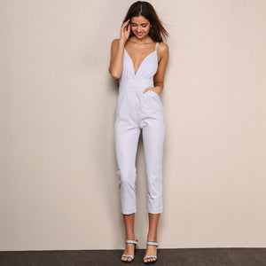 Striped Spaghetti Backless Deep V Neck Overall Jumpsuit