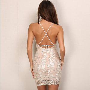 Backless Hollow Out Vintage Bodycon Dress