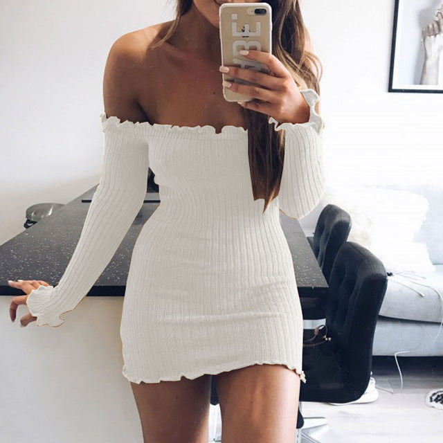Elegant Long Sleeve Strapless Sweater Dress