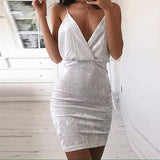 V Neck Backless Strap Elegant Dress