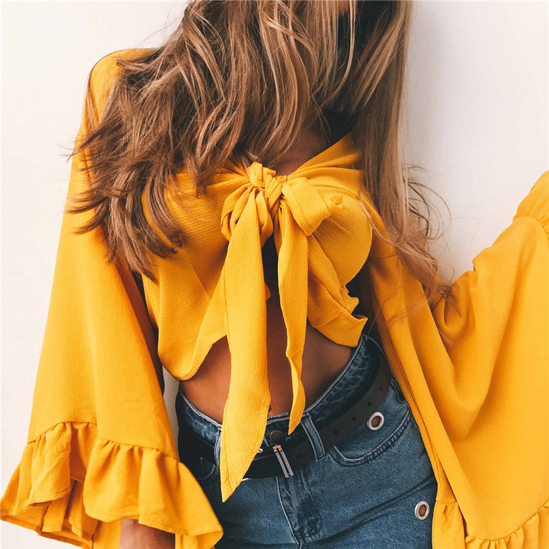 Chiffon V Neck Flare Sleeve Bow Crop Top
