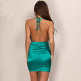 Halter Tie Up Backless Bodycon Dress