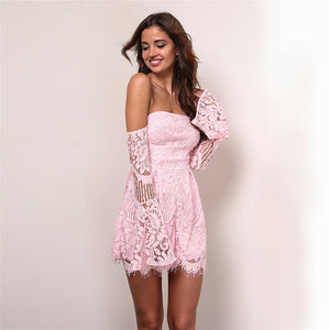 Lace Hollow Out Strap Backless Jumpsuit Romper