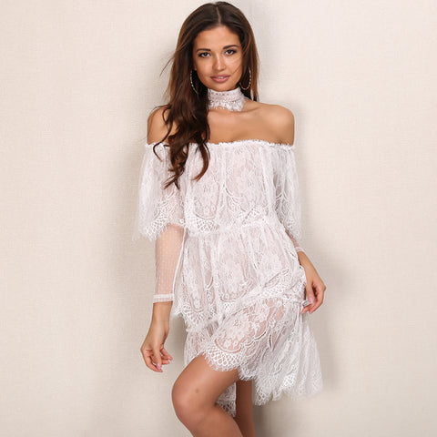 Slash Neck Lace Off Shoulder Dress