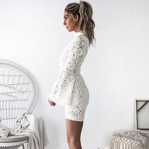 Lace Long Sleeve O Neck Mini Dress