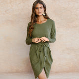 Elegant Long Sleeve Bow Belt Dress