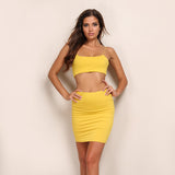 Double Scoop Neck Side Striped Crop Top And Skirt Set