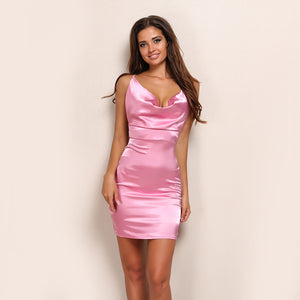 Satin Halter Bandage Bodycon Dress