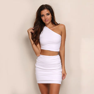 Tight Fold Crop Top Package Hip Skirt Set