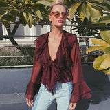 Chiffon V Neck Net Yarn Blouse Top