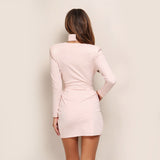 Long Sleeve V Neck Open Fork Vintage Party Dress