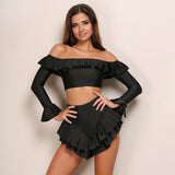 Ruffle Long Sleeve Off The Shoulder Set