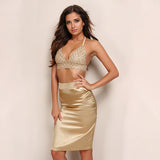 Sequin Vintage V Neck Set