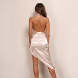 Slit Backless V-Neck Strap Party Dress