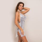 Halter Long Strap Diamond Backless Sequin Mini Dress