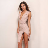 Suede V Neck Sash Button Dress