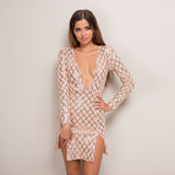 Sequin Vintage Long Sleeve Deep V Plaid Dress