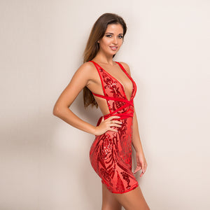 V Neck Bandage Dress