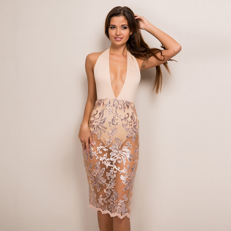 Sequin Backless Mesh Hollow Out Bandage Party Dress