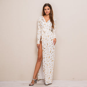 Printed Feather Pattern High Side Split Dress