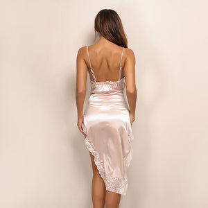 Backless Side Split Fork Irregular Satin V Neck Spaghetti Strap Dress