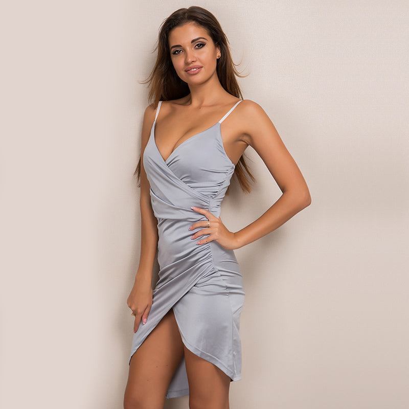 Sleeveless Bodycon Asymmetric Midi Dress