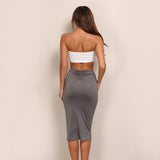 Knee Length Strapless Bodycon Set
