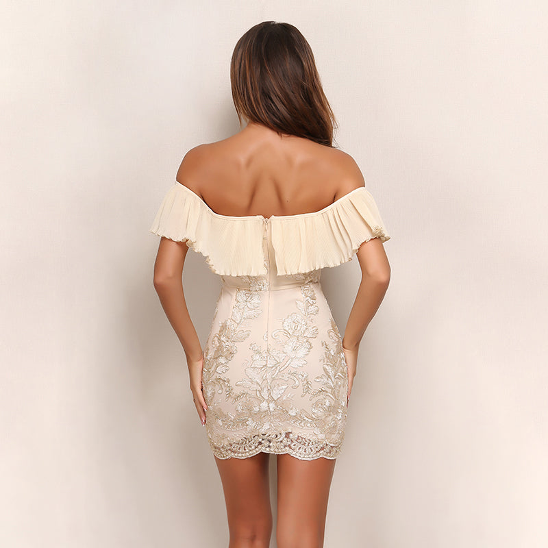 Strapless Ruffle Embroidery Vintage Dress