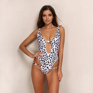 V Neck Hollow Out Speckle Bodysuit Monokini