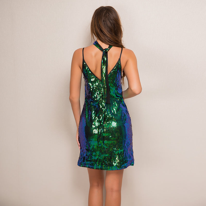 Sequin Sling Strap V Neck Sleeveless Dress