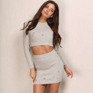 Knitted Bodycon Vintage Hollow Out Set