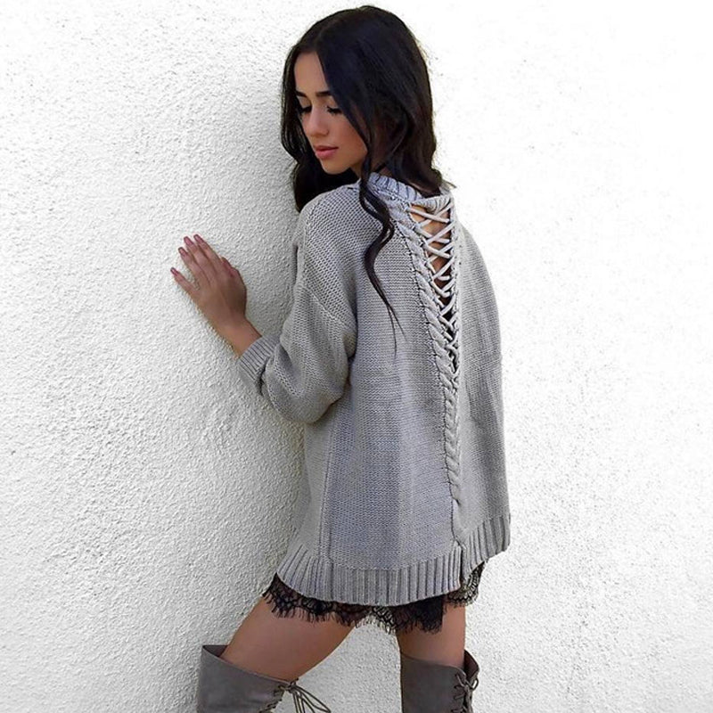 Long Sleeve Knitted Sweater Pullover Top