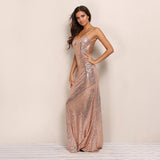 Backless Sequin Maxi Long Dress