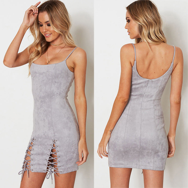 Suede Bodycon Bandage Lace Up Dress
