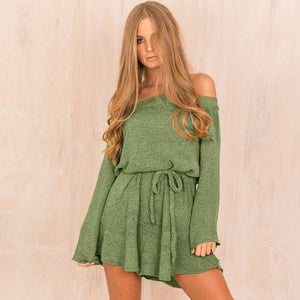 Long Sleeve Casual Belt Slash Neck Dress