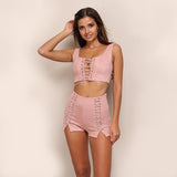 Cropped Top With Shorts Set
