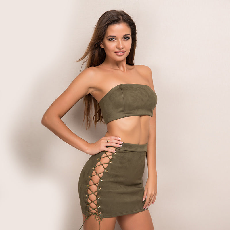 Suede Strapless Bandage Party Set