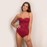 Strapless Sleveless Suede Bodycon Monokini