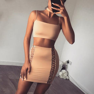 Suede Strapless Hollow Out Bandage Set