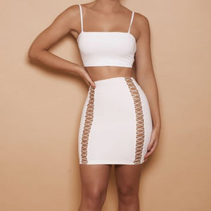 Suede Strapless Hollow Out Bandage Clubwear