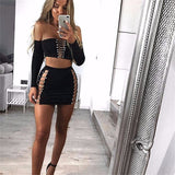 Long Sleeve Bandage Strapless Hollow Out Bodycon Party Set