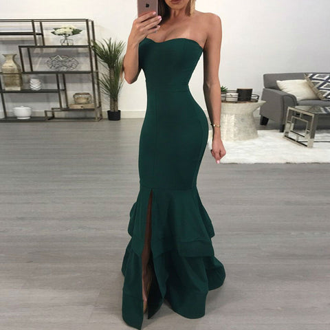 Ruffle Strapless Zipper Long Dress